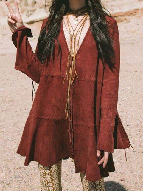 V Neck Women Dresses A-Line Casual Boho Faux Suede Dresses