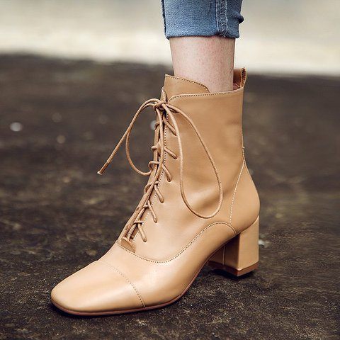 Stylish Genuine Leather Square Toe Chunky Heel Boots