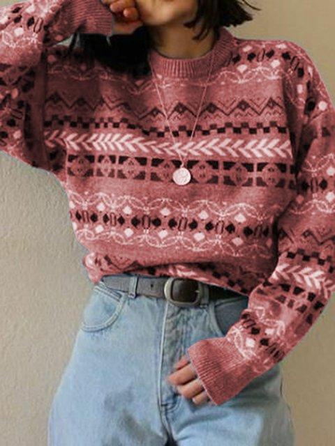 Printed Knitted Tribal Long Sleeve Casual Printed Sweater