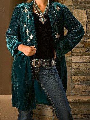 Boho Embellished Corduroy Coat
