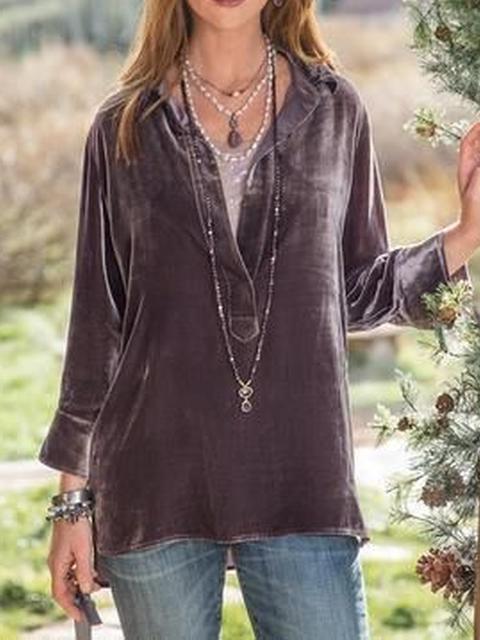 V Neck Long Sleeve Velvet Shirts & Tops