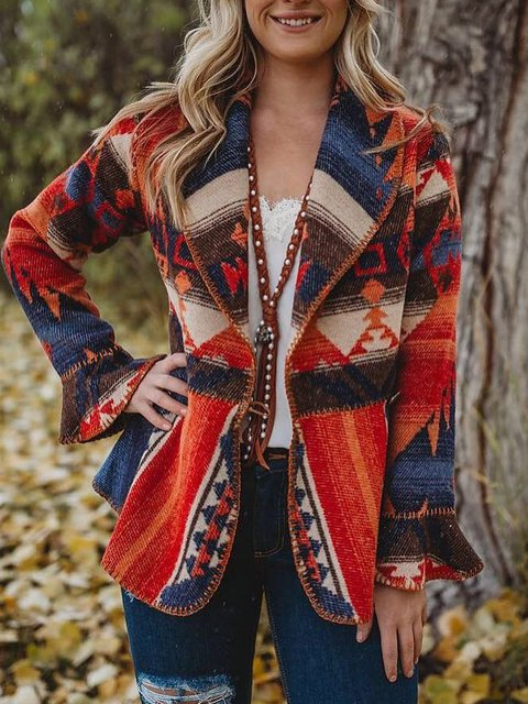 Red Turn-Down Collar Geometric Cotton-Blend Boho Outerwear