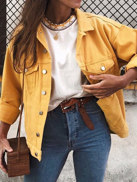 Buttoned Cotton Solid Long Sleeve Pockets Outerwear