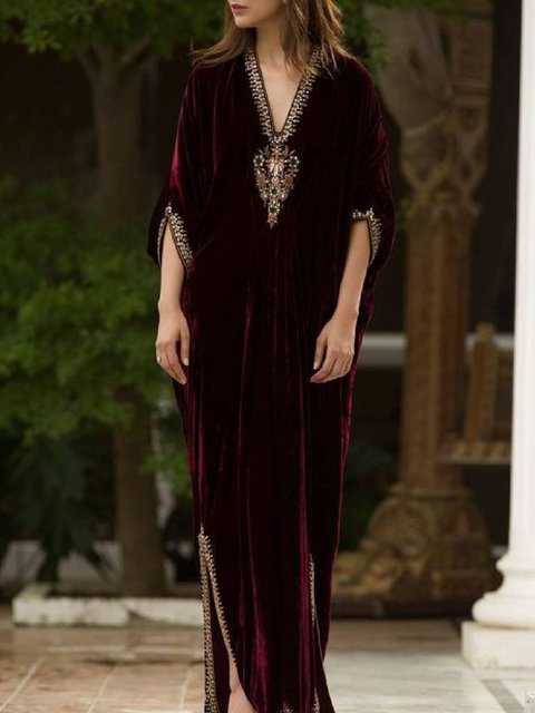 Wine Red Half Sleeve A-Line Dresses