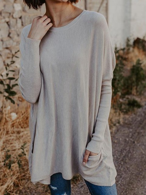 Plus Size Pockets Sweater Solid Knitted Crew Neck Tops