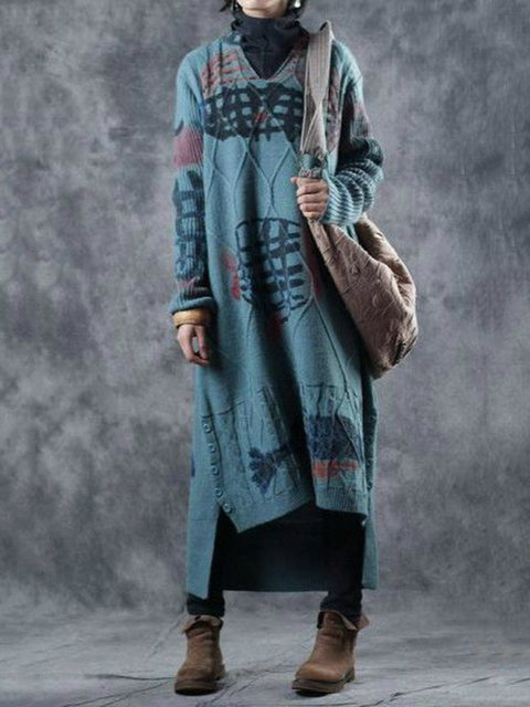 Casual Long Sleeve V Neck Cotton-Blend Dresses