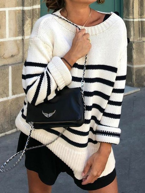 Long Sleeve Crew Neck Stripes Printed Sweater