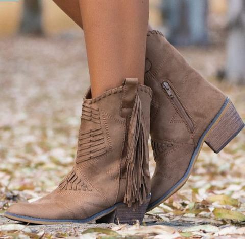 Vintage Women Pointed Toe Tassel Ankle Booties Zipper Boots