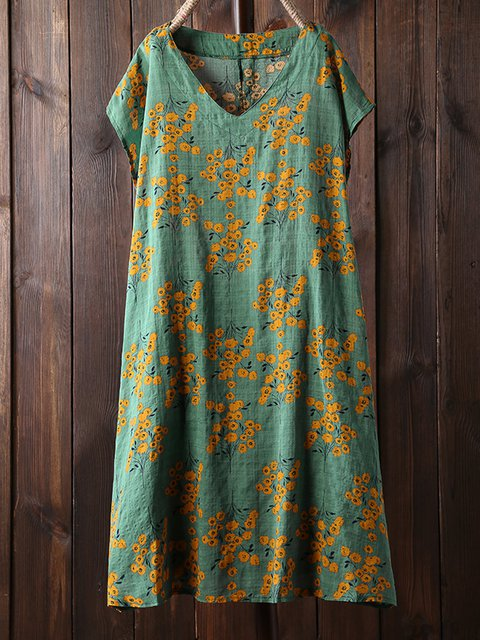 Plus Size Mini Dresses Summer Floral V Neck Dresses