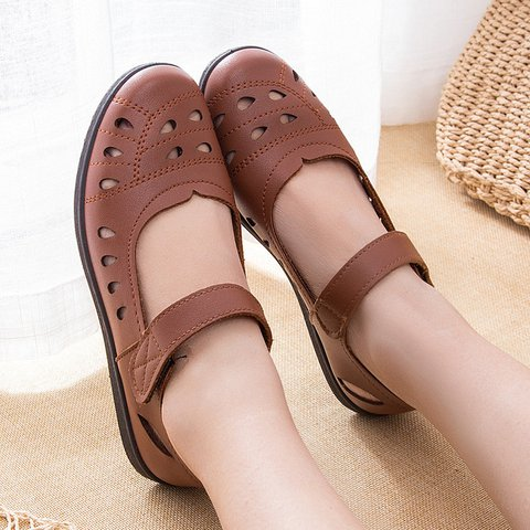 Women Breathable Hollow Microfiber Hook Loop Soft Flats