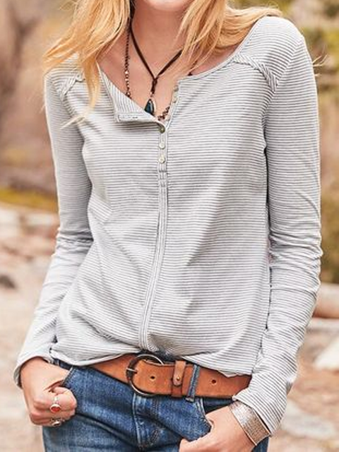 White Long Sleeve Crew Neck Shirts Tops
