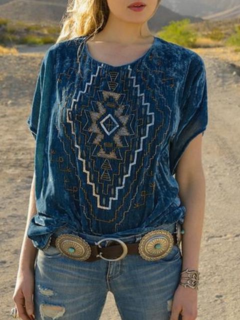 Blue Corduroy Short Sleeve Shirts & Tops