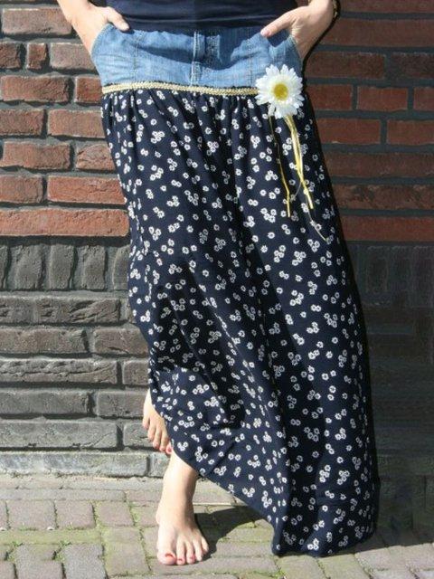 Denim Printed Vintage Skirts