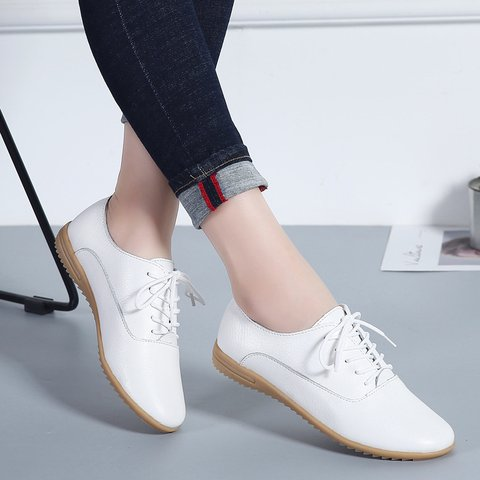 Woman Lace-up Split Joint Solid Pu Flat Sneakers Flats Single Shoes