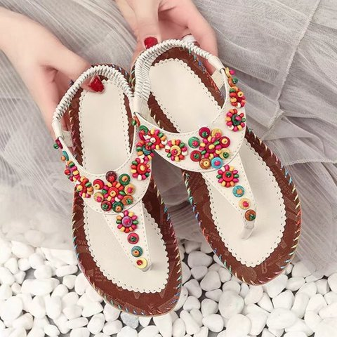 Woman Beading Beach Slip-on Flat Heel Sandals