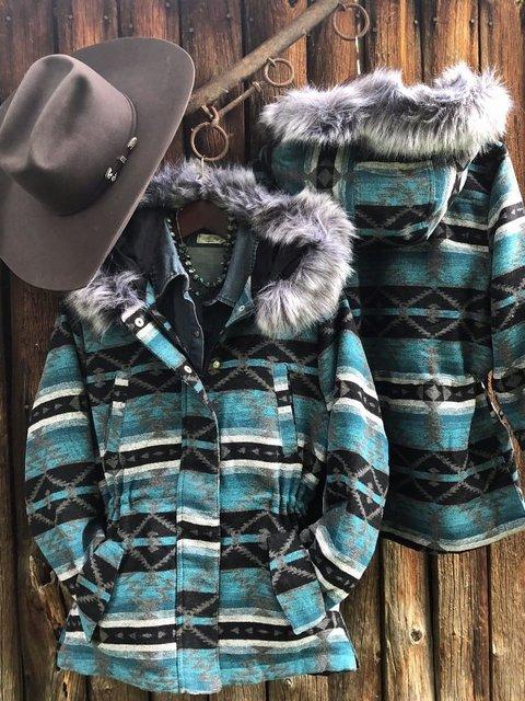 Women Vintage Casual  Cotton Aztec Warm Coat With Faur Fur Collar
