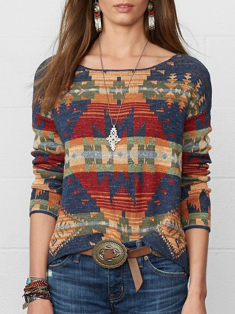 Plus Size Geometric Long Sleeve Boho Tops