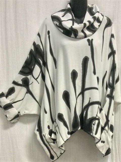 Autumn Casual Art Printed Cotton Turtleneck Long Sleeve Top