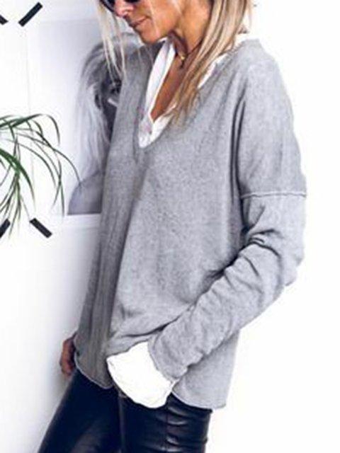 Gray Plain V Neck Long Sleeve Sweaters