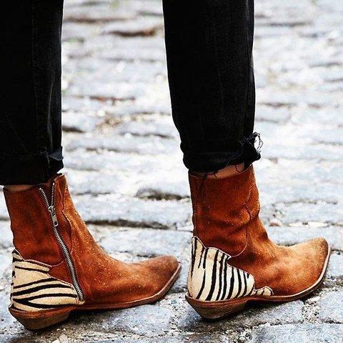 Women Ankle Suede Flat Heel Cowboy Boots 2019