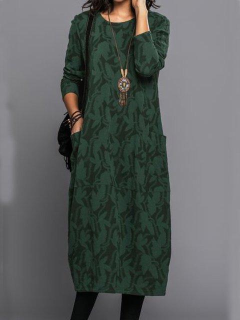 Casual Floral-Print Vintage Dresses