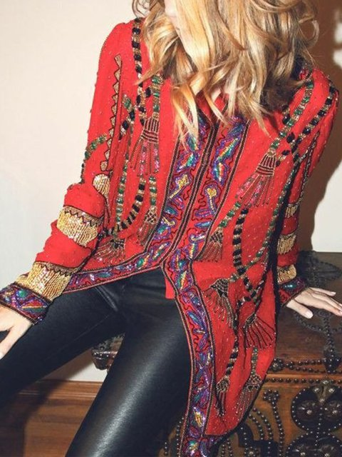 Plus Size Long Sleeve Geometric Boho Printed Outerwear