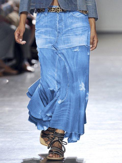 Casual Plain Denim Skirts