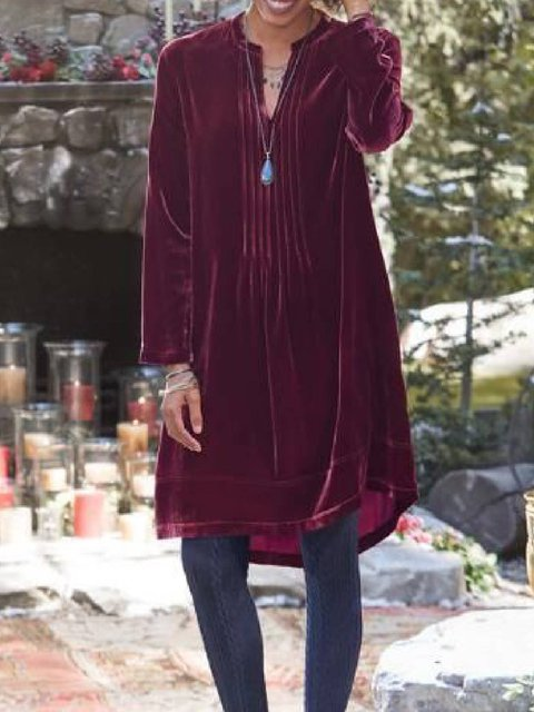 Fuchsia Long Sleeve Velvet V Neck Dresses