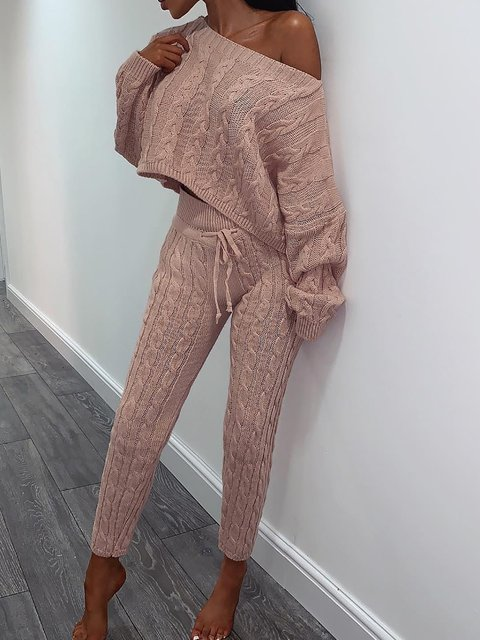 Warm Knitted Crew Neck Two Pieces Sets Suits