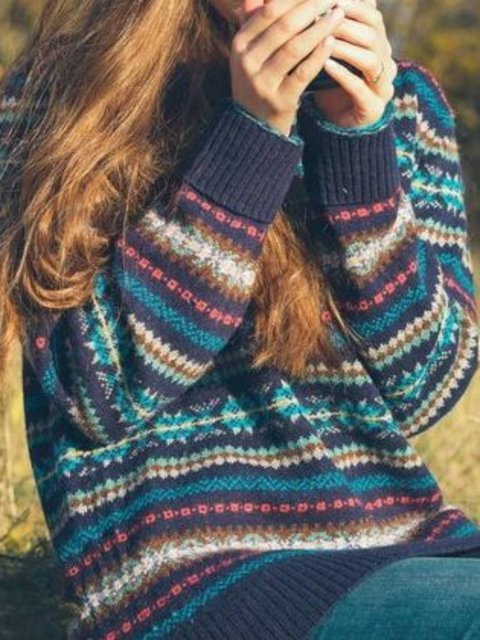 Cotton-Blend Round Neck Long Sleeve Sweater