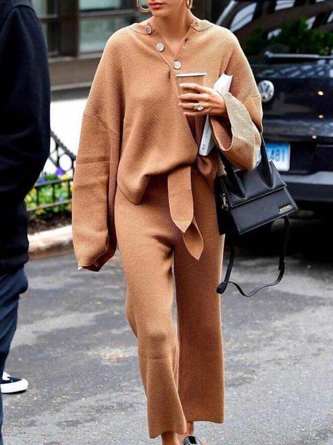 Khaki Long Sleeve Plain Daytime Suits