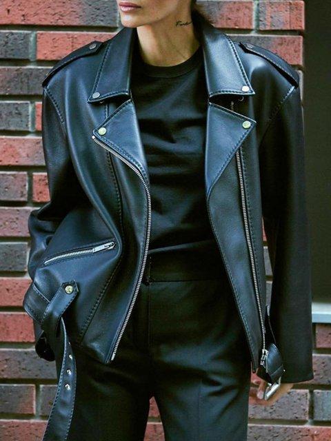 Black Long Sleeve Shawl Collar Outerwear