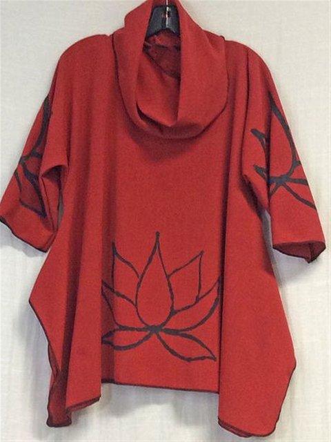 Autumn Summer Casual Art Printed Turtleneck Cotton T-shirt