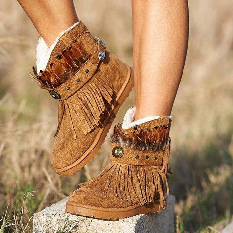 Plus Size Warm Tassel Boho Suede Flat Heel Ankle Boots