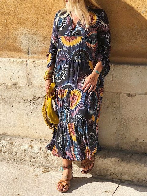 Women Floral Caftan V-Neck Paneled Midi Dresses