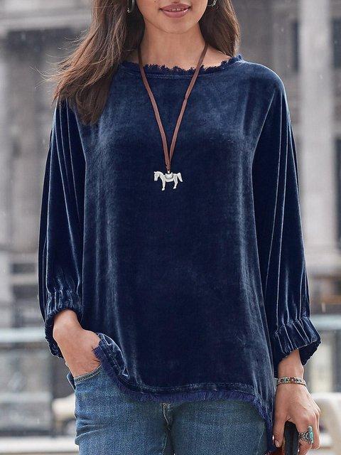 Navy Blue Long Sleeve Velvet Plus Size Shirts & Tops