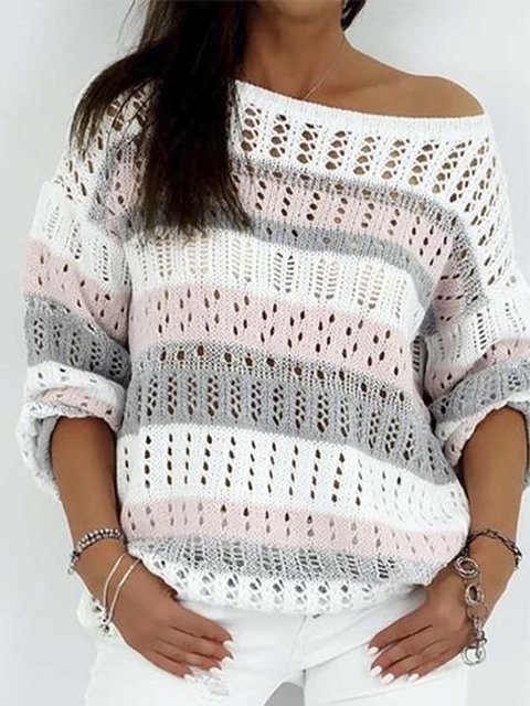 White Knitted Cotton Long Sleeve Stripes Sweater