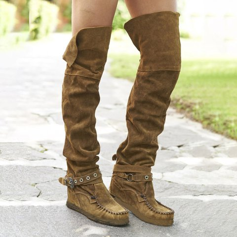 e41d4f05287 Adjustable Buckle Flat Heel Boots Over The Knee Casual Boots