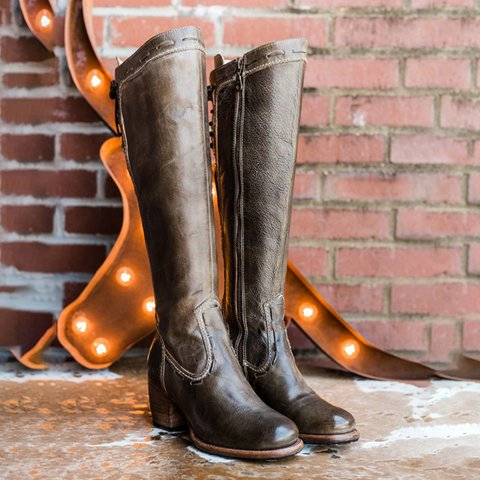 Dark Brown Lace-Up Chunky Heel Artificial Leather Zipper Long Boots