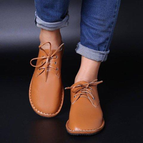 Lace-Up Flat Heel Soft Comfort Shoes