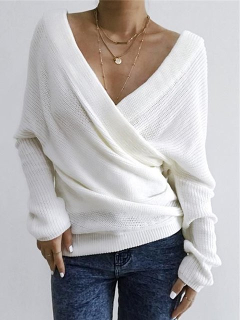 Women Casual Tops Tunic V Neck Sweater