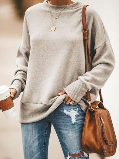 Light Gray Cotton-Blend Long Sleeve Casual Outerwear