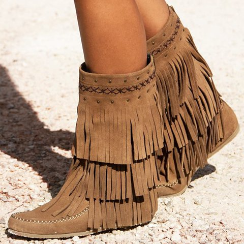 Faux Suede Winter Tassel Boots Flat Heel Slip-On Vintage Boho Mid-Calf Boots