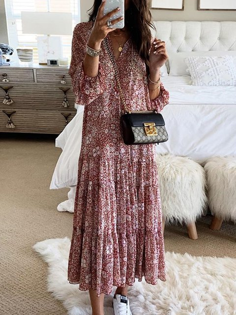 Plus Size Maxi Dresses Floral-Print Boho Dresses