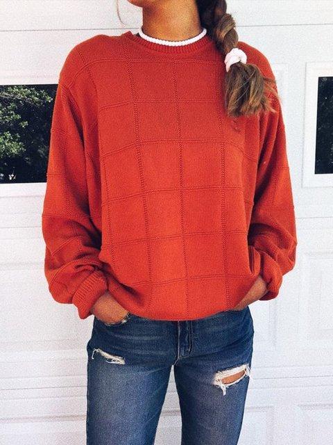 Plus Size Solid Sweatshirt Women Crew Neck Tops