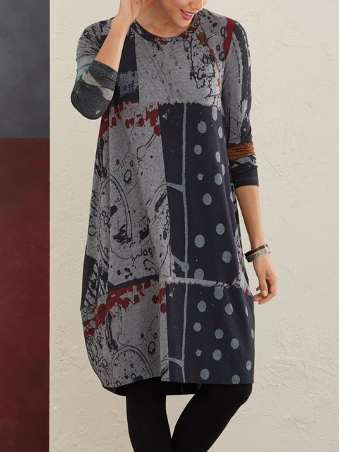 Vintage Print Polka Dots Casual Dresses