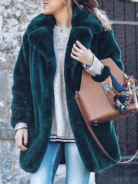 Women Faux Fur Lapel Solid Winter Coats