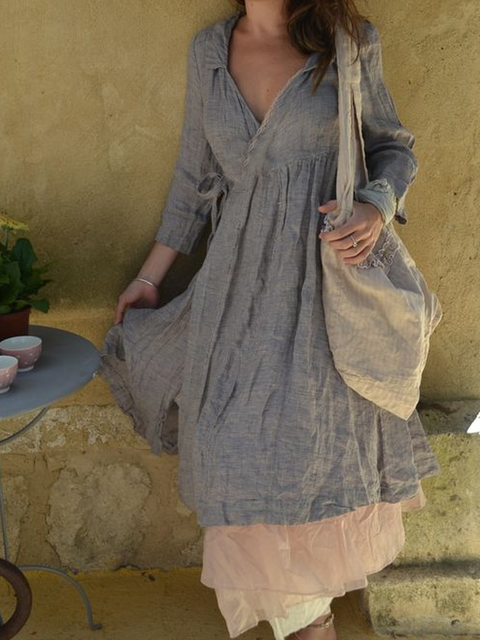 V Neck Gray Women Dresses Daily Linen Solid Dresses