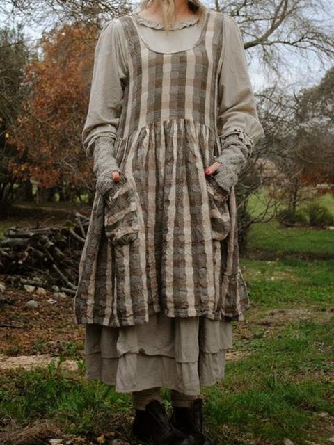 Crew Neck Khaki Women Dresses Shift Daily Linen Printed Dresses