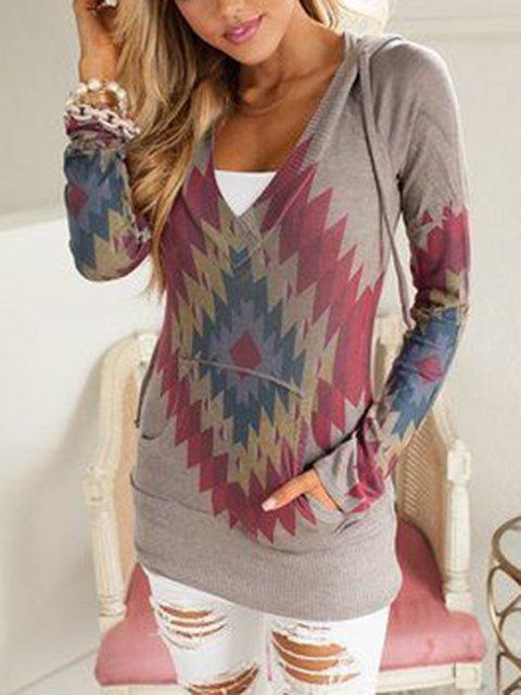 Khaki Geometric Hoodie Cotton Long Sleeve Shirts & Tops